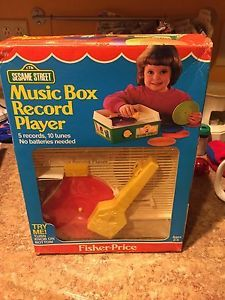 Vintage-1984-Fisher-Price-Sesame-Street-Music-Box-Record-Player-Turntable-995N