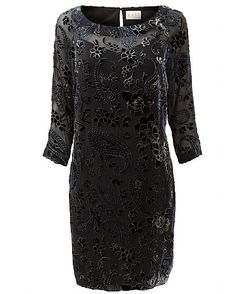 Paisley Devore Dress The velvet pattern on our Paisley Devore Dress make this a sophisticated addition to your winter wardrobe. Featuring a loose fit, round neck, knee length and 3 quarter sleeves, this style simply slips on. Wear with our Sequin Embroidered Clutch Bag for a classic and sophisticated evening look.