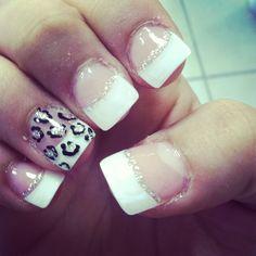 Prom nails cheetah French tips