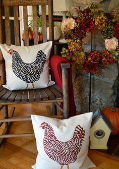 DIY Stenciled Rooster Pillow by Exquisitely Unremarkable