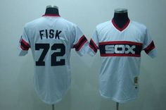 Mitchell and Ness White Sox #72 Carlton Fisk Embroidered White Throwback MLB Jersey!$21.50USD