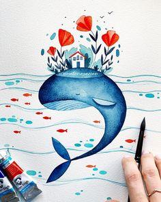 Art And Illustration, Watercolor Illustration Tutorial, Painting Illustrations, Art Aquarelle, Watercolor Paintings, Watercolor Whale, Watercolour Drawings, Easy Watercolor, Watercolor Design