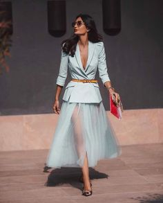 blazer tulle skirt wedding dates at formal Classy Outfits, Chic Outfits, Beautiful Outfits, Paris Chic, Look Fashion, High Fashion, Womens Fashion, Fashion Design, Mode Outfits