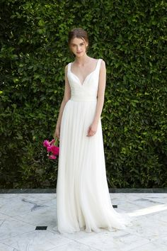 V-Neck Sheath Wedding Dress  with Natural Waist in Tulle. Bridal Gown Style Number:33365032