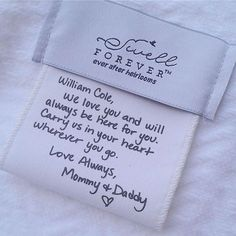 Personalized baby blanket message tag from Swell Forever. Gifts from mom and dad to baby. Handwritten and custom heirloom gifts. www.swellforever.com
