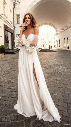 papilio 2019 bridal long bishop sleeves off the shoulder sweetheart neckline wrap over ruched bodice slit skirt romantic a line wedding dress medium train 1 mv - Papilio Light 2019 Wedding Dresses Wedding Inspirasi Wedding Robe, Dream Wedding Dresses, Boho Wedding, Bridal Dresses, Wedding Gowns, Bridesmaid Dresses, Wrap Wedding Dress, Wedding White, Wedding Simple