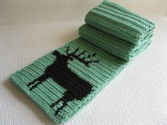 Bull Elk Scarf.  Woodland green crochet scarf for men or women.. $34.00, via Etsy.