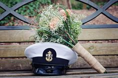 Navy Wedding. Cover and bouquet. Would like to do something similar with a police hat