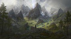 Anomaly by Jesper Friis on ArtStation. Fantasy Art Landscapes, Fantasy Landscape, Fantasy Artwork, Landscape Art, Fantasy Male, High Fantasy, Fantasy World, Medieval, Adventure Aesthetic