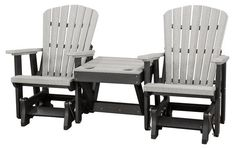 Two Black and Grey Poly Gliders Connected by Center Table Settle back and enjoy an attractive, well built, comfy outdoor glider for two. Made with eco friendly poly. Choose from a rainbow of colors. Features built in cupholders too.