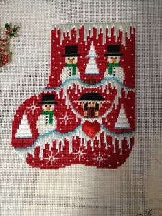 Shelly Tribby snowman needlepoint mini sock.