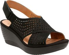 Women's Clarks Reedly Variel Wedge Slingback - Black Goat Nubuck with FREE Shipping & Exchanges. Carefully crafted, the Clarks Reedly Variel Wedge Slingback maximizes comfort with every step you