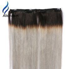 ALICROWN Hair Ombre 1b-grey Color Clip In Human Hair Extensions 7pc Brazilian Remy Hair Full Head Clip Hair 100G     Wholesale Priced Wigs, Extensions, And Bundles!     FREE Shipping Worldwide     Get it here ---> http://humanhairemporium.com/products/alicrown-hair-ombre-1b-grey-color-clip-in-human-hair-extensions-7pc-brazilian-remy-hair-full-head-clip-hair-100g/  #wigs