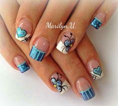Love Nails, Pretty Nails, Fun Nails, Gel Nail Designs, Cute Nail Designs, French Tip Nails, French Manicures, Acrylic Nail Art, Creative Nails