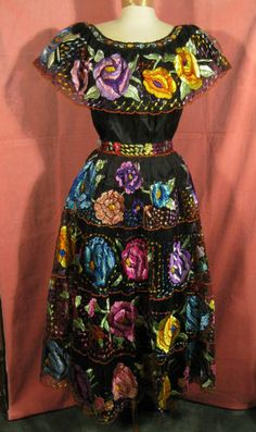 Mexican Frida Kahlo Fiesta Dress from Chiapa De Corzo at Robin Clayton Vintage Clothing