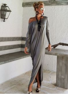 Polyester Solid Long Sleeve Maxi Casual Dresses (1018026) @ floryday.com