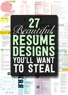 27 Beautiful #Résumé Designs You'll Want To Steal | BCPL says: The more concept-oriented and design-heavy layouts are probably best reserved for creative positions. #careers #career trends