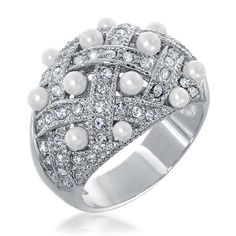 Basket Weave CZ Diamond Pearl Cocktail Ring