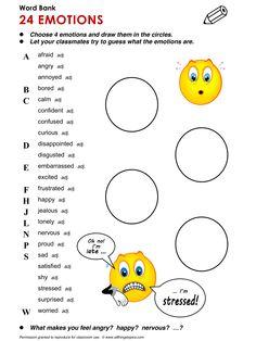Emotions, English, Learning English, Vocabulary, ESL, English Phrases, http://www.allthingstopics.com/emotions.html