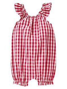 Gingham flutter one-piece:ideas for baby clothes to make