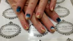 Ocean scene nails #sandandsurf #handpainted #shellacnails #nailart