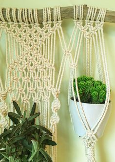 This macrame wall plant hanger was handcrafted on a piece of driftwood found along the shores of Lake Ontario. It is made of 100% cotton rope and natural wood. The hanging measures approximately 23.5 wide including the driftwood (16 without) and 42 long including the string to hang (35 without). There are three spaces for plants to be placed. ***THIS PLANT HANGER HAS SOLD***If you purchase this listing, you are buying a replica of this design, however the driftwood will be slightly…