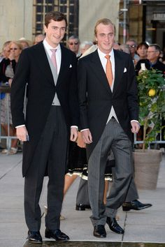 (L-R) Prince Amadeo and his younger brother Prince Joachim of Belgium attend the Religious Wedding Of Prince Felix Of Luxembourg and Claire Lademacher on 21 Sep 2013 in France