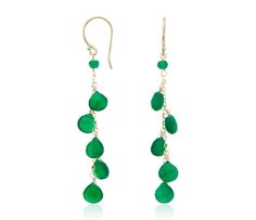 Green Agate Dangle Earrings in 14k Yellow Gold  #BlueNile #MothersDay #jewelry