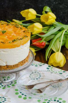 Cheesecake cu ananas si mango4 (Large) Mango, Cheesecakes, Camembert Cheese, Biscuit, Caramel, Ice Cream, Sweets, Deserts, Salads