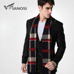 [VIANOSI] 2016 Newest Design Brand Scarf Men Warm Luxury Scarves Echarpe Fashion Plaid Wool Scarf Man MA004