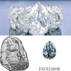 {WORLD FAMOUS DIAMONDS- THE EXCELSIOR 985.20 cts} Up until unearthing of the Cullinan, the Excelsior was the largest gem quality diamond in the world found on 1893 at Jagersfontein mine. Due to its obscure shape it wasn't cut until 10 years after its unearthing which was cut to 22 smaller diamonds by Asscher brothers. The largest being The Excelsior I a 69.68ct pear shaped which is in possession of Robert Mouawad since 1996 and is set in a bracelet by the same house. #EhudLaniado…