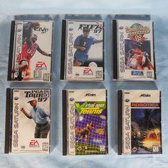 Lot of 6 Sega Saturn Video Games NBA FIFA Soccer World Series Baseball Robotica Sega Saturn, Soccer World, World Series, Fifa, Stocking Stuffers, Board Games, Jigsaw Puzzles, Video Games, Baseball Cards