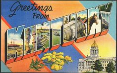 1940s Large Letters Greetings from Kentucky State Vintage Postcard