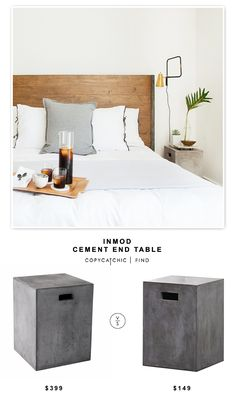 @cuckoolandcom Inmod Castor End Table for $399 vs @cb2pins Cement Grey Side Table for $149 | Copy Cat Chic look for less budget design