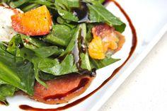 Dandelion Green & Grilled Peach Salad recipe from @GasroSovereign
