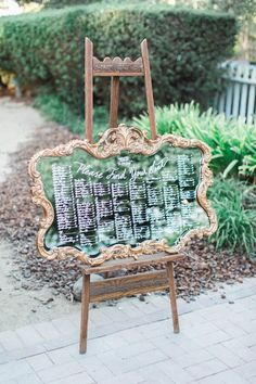 Calligraphy Vintage Mirror Wedding Seating Plan // Photography ~ Trynh Photo