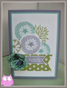 Colors: Wisteria Wonder, Coastal Cabana and Pear Pizazz. The stamp set is one of Stampin' Up! Sale-a-Bration freebies which can be yours with a spend of £45 or more with me. I cased the stamp layout from a card my lovely friend Jo made and added a banner out of the Heartfelt Banner Kit. Then I got the glue gun out. To make the cute flower I used our Spiral Flower Die and then popped a Subtles button in the centre.