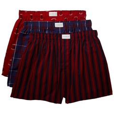 Tommy Hilfiger 3-Pack Cotton Classics Woven Boxer (Blueberry) Men's... ($40) ❤ liked on Polyvore featuring men's fashion, men's clothing, men's underwear, mens cotton boxers, mens woven boxers, mens boxers and mens underwear boxers