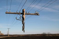 Electric Pole Hanging After a Wild Fire