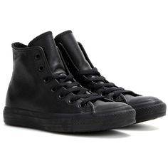 Converse Chuck Taylor All Star Leather High-Top Sneakers ($94) ❤ liked on Polyvore featuring shoes, sneakers, black, converse sneakers, black leather shoes, converse trainers, black high top shoes and black leather sneakers