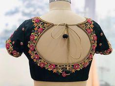 Fluorescent colour combination blouse , made for reddy… Cotton Saree Blouse Designs, Bridal Blouse Designs, Simple Blouse Designs, Blouse Back Neck Designs, Simple Designs, Maggam Work Designs, Designer Blouse Patterns, Amai, Devon