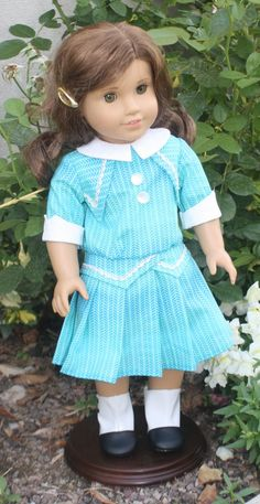 American Girl 1914 Dress in Variegated Aqua by RuthielovestoSew, $34.00
