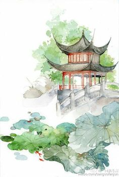how to draw swords Japon Illustration, Watercolor Illustration, Watercolor Paintings, Watercolour, Watercolor Japan, Japanese Painting, Chinese Painting, Painting & Drawing, Watercolor Architecture