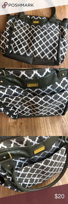 Carters Large Diaper Bag Olive green and white diaper bag. Lots of pockets and storage. Easy clean. Has stroller buckles and zips closed. Only used a few times, was great to fly with. Carter's Bags Baby Bags