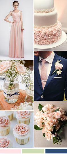 pink wedding color ideas and bridesmaid dresses trends for 2016 Rosa Hochzeit Farbe Ideen und Brautj Blush Wedding Cakes, Blush Pink Weddings, Wedding Cupcakes, Navy Blue Weddings, Pink Wedding Colors, Wedding Color Schemes, Wedding Flowers, Colour Schemes, Wedding Colour Combinations
