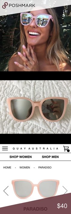 QUAY PARADISO sunnies Gorgeous pale pink mirrored sunnies by QUAY Australia!! So so so in love with these, but they just don't fit my face shape 😩 BRAND NEW w/o tags. Quay Australia Accessories Sunglasses