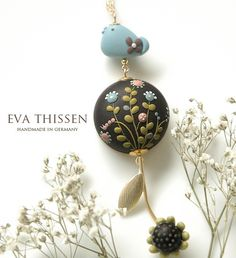 Gorgeous polymer clay flower embroidery by eva thissen