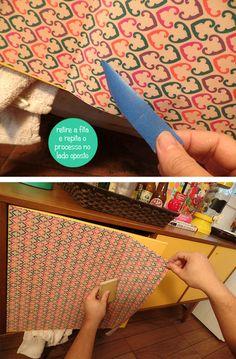 Blog Remobília - Repaginando aparador com tecido adesivo faça você mesmo com passo a passo!