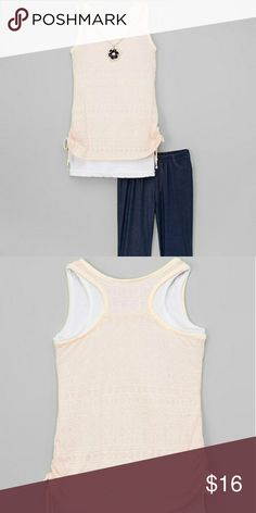 Pale Pink Necklace Side-Tie Tank & Jeggings Includes top with attached necklace and jeggings  Necklace: 24'' L  65% cotton / 35% polyester  Hand wash; hang dry  Imported MiniMOCA Matching Sets