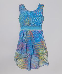 Love this Turquoise Abstract Hi-Low Dress by Cool and Cute on #zulily! #zulilyfinds